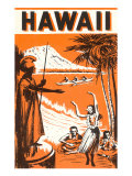 Hawaii, King Kamehameha and Outriggers Prints
