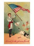 Patriotic Boy Shooting Cat Posters