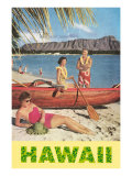Hawaii, Beach Scene with Outrigger Prints