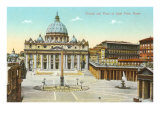 St. Peter's Square and Cathedral, Rome, Italy Prints