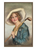 Lady in Hat with Golf Club Posters
