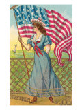 4th of July, Lady with Flag Prints