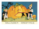Children with Giant Jack O'Lantern Posters