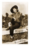 Happy Birthday, Cowgirl on Fence Prints
