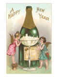 Happy New Year, Cherubs with Champagne Prints