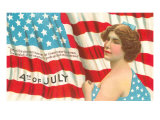 4th of July, Flag and Lady with Blue Bow Posters