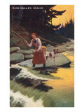 Sun Valley, Idaho, Fishing Woman with Pointer Posters