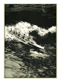 Etching of Outrigger Canoe, Hawaii Prints