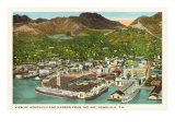 Aerial View of Honolulu Harbor, Hawaii Posters