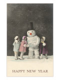 Happy New Year, Snowman and Children Prints