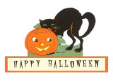 Happy Halloween, Cat and Jack O'Lantern Prints
