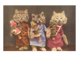 Dressed Kittens with Dolls Posters