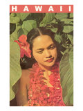 Hawaii, Lady in Taro Leaves with Lei Posters