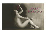Happy Birthday, Vintage Nude with Grapes Posters