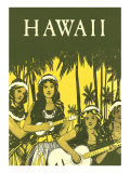 Hawaii, Hula Girls with Ukuleles Posters