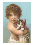 Child with Kitten Print