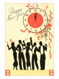 Happy New Year, Men in Tuxedos, Clock at Midnight Prints