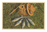 Five Fish with Creel and Hat Photo
