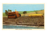 Giant Ear of Corn Towed by Tractor, Iowa Prints