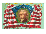 4th of July Greetings, George Washington on Flag Posters