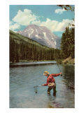 Fisherman in River Posters