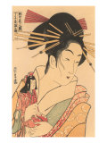 Japanese Woodblock, Woman with Doll Posters