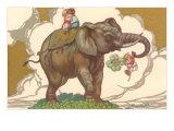 Children on Elephant Art
