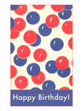 Happy Birthday, Red and Blue Balloons Posters