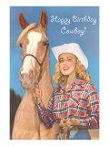 Happy Birthday Cowboy, Blonde with Palomino Art