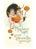 Halloween, Cherubs with Jack O'Lanterns Poster