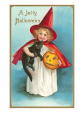 A Jolly Halloween, Little Girl Witch with Cat and Jack O'Lantern Art