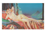 Blonde Vamp Lounging by Pyramids Art