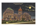 Moon over State Capitol, Indianapolis, Indiana Prints
