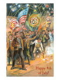 Happy Fourth of July, Early Celebration with Flags Poster