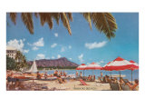 Waikiki Beach and Diamond Head, Hawaii Kunstdruck