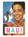Maui, Surfer and Diving Boy Print