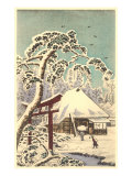 Winter Scene at Japanese Temple Prints