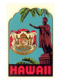 Kamehameha Statue, State Seal, Hawaii Print