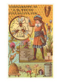 Victorian Girl with Beehive, Honey Comb Poster