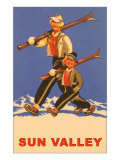 Skiing in Sun Valley, Idaho, Graphics Prints