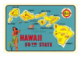 Map of Hawaiian Islands Posters