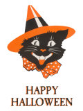 Happy Halloween, Black Cat in Hat Prints
