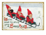 Happy New Year, Elves on Sleds Posters
