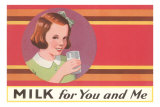 Milk for You and Me Advertisement, School Girl Poster