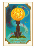 Mystic Light of Halloween, Jack O'Lantern on Black Cat Prints
