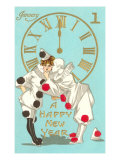 Happy New Year, Clowns and Clock Print