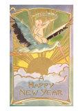 Bonne année, bébé sur une cigogne Posters