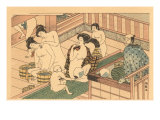 Japanese Woodblock, Public Baths Prints