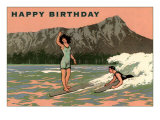 Happy Birthday, Vintage Surfing Poster