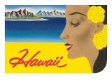Hawaii, Graphic of Diamond Head and Woman Poster